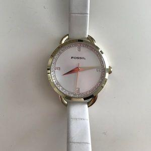 Fossil Watch - White/Gold Rhinestone